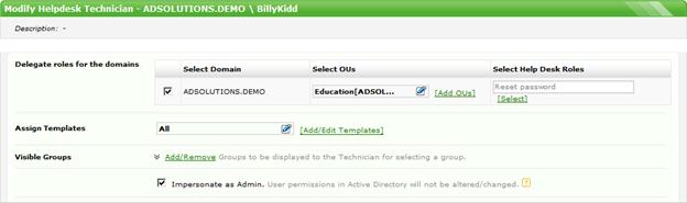 Med ADManager Plus är det enkelt att delegera behörigheter till tekniker