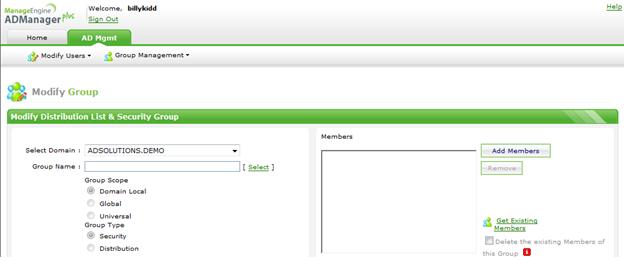 Nytt delegeringsgränssnitt i ADManager Plus för både lösenordsåterställning och ändring av gruppmedlemskap